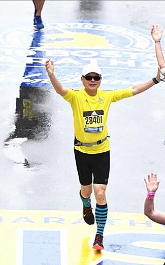 張紅淇參加波士頓馬拉松賽圓夢。(圖由張紅淇提供)