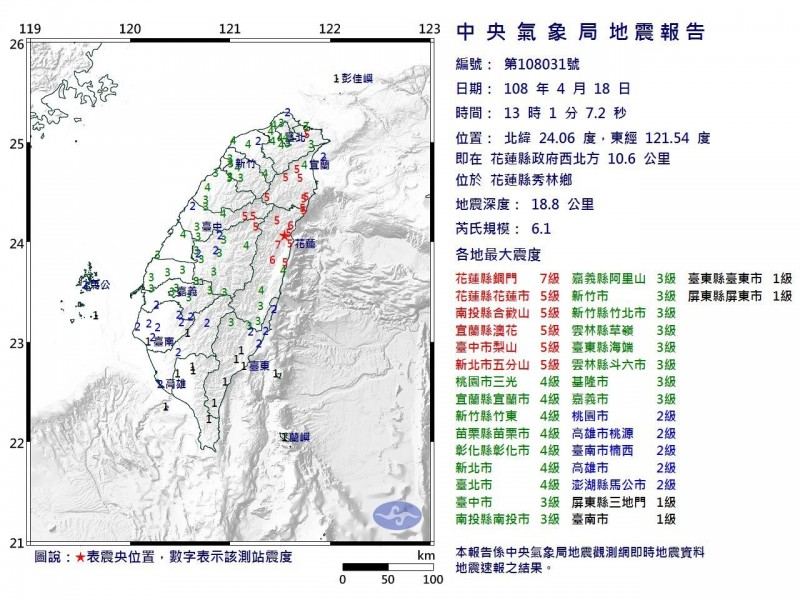 今天中午1點1分發生規模6.1地震,雲林震度3級。(記者黃淑莉翻攝)