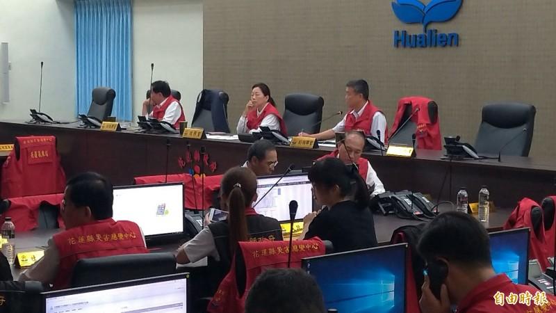 花蓮縣政府在下午2點成立一級應變中心。(記者王錦義攝)