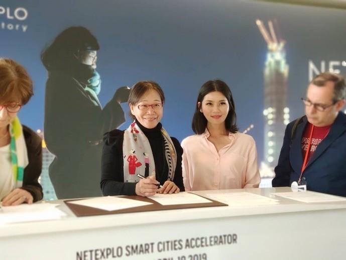 雲林縣政府簽署加入聯合國NETEXPLO智慧城市先鋒計畫同意書。(雲林縣政府提供)