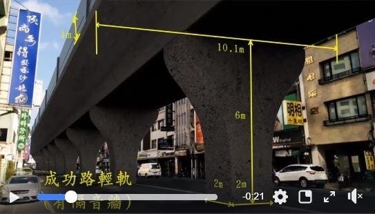 成功路輕軌有隔音牆模擬畫面。(擷自臉書)
