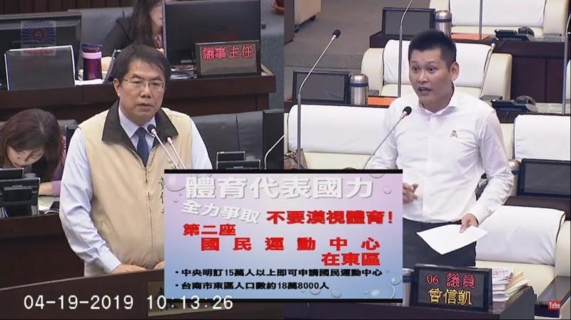 議員曾信凱(右)爭取在東區設置南市第二座國運動中心,市長黃偉哲(左)表示贊同。(記者蔡文居翻攝)