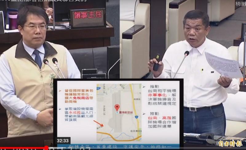 議員盧崑福(右)主張應推動台南機場非軍事化,解決軍機噪音及限建的問題,以帶動南區的發展。(記者蔡文居翻攝)