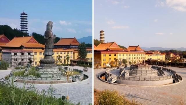 江西九江市修水縣兜率禪寺觀音銅像被拆除前後。(圖擷取自《寒冬》雜誌)