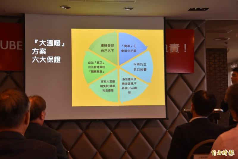 台灣計程車產業發展聯盟也向Uber司機喊話,呼籲其跳槽加入計程車行業,成為「職業駕駛」,共同加入多元派遣平台,承諾車輛登記自己名下等保證,呼籲共同合法營運。(記者吳柏軒攝)