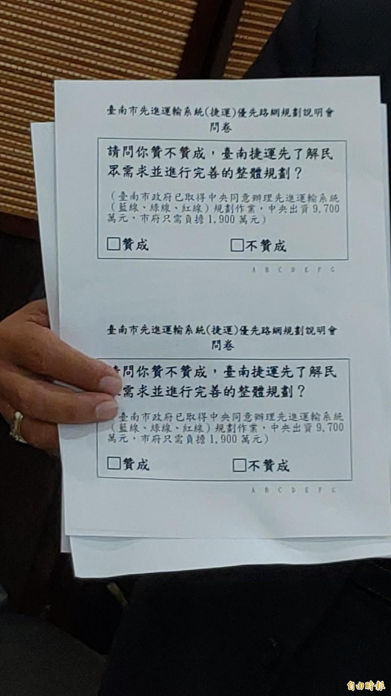 南市交通局進行的捷運問卷題目,議長郭信良認為太簡略。(記者蔡文居攝)