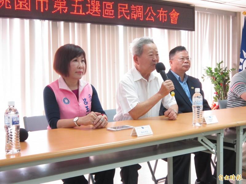 國民黨桃園市黨部公布第五選區立委初選結果,3位參選人僅立委呂玉玲(左)到場。(記者謝武雄攝)