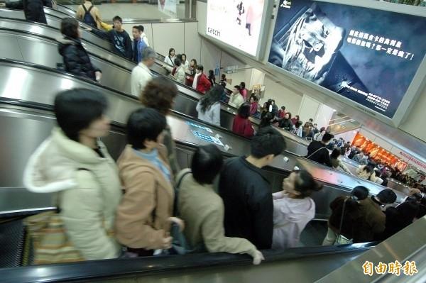 台北捷運公司表示,「右站左行」是民間長久形成的文化,目前仍以「緊握扶手,站穩踏階」向大眾宣導。(資料照)