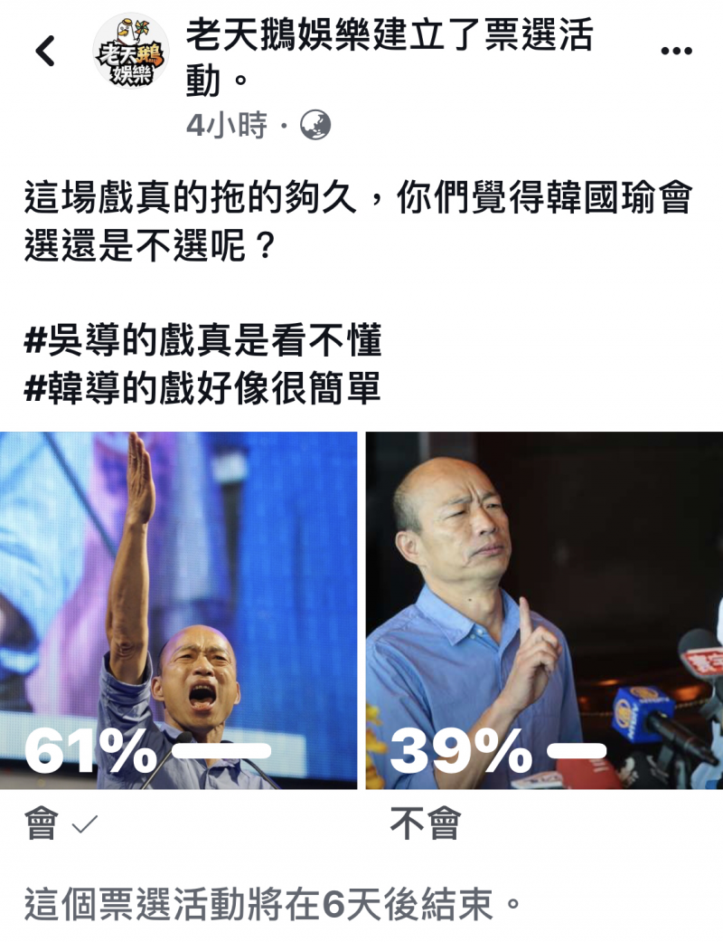 韓國瑜5點聲明後是否參選2020?粉專「老天鵝娛樂」辦票選多數認「會選」。(取自網路)