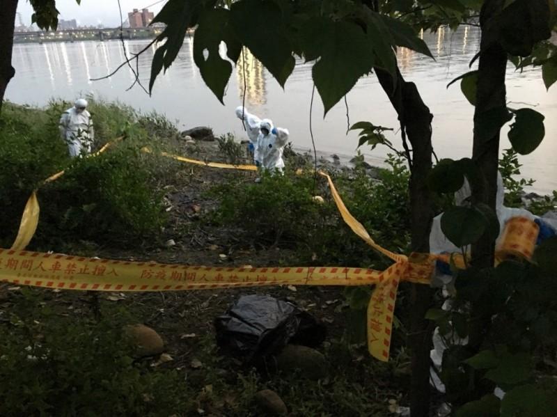 台北市今天傍晚在延平河濱公園發現1具豬隻屍體,現場封鎖消毒。(台北市動保處提供)