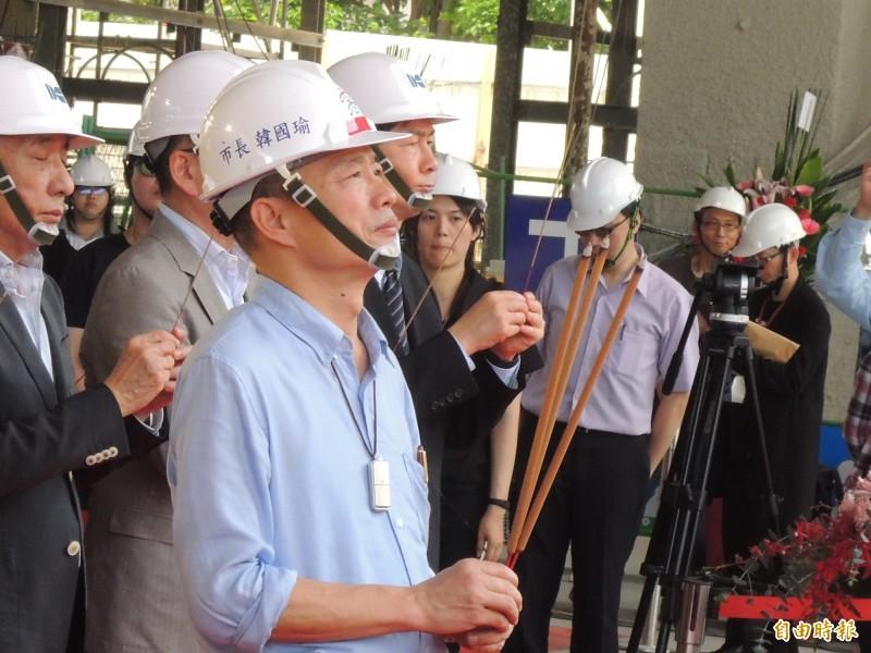 韓國瑜今主持高市圖總館文創會館上樑典禮。(記者王榮祥攝)