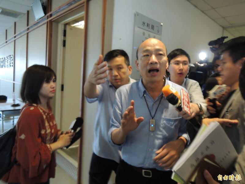 韓國瑜表示,如果蘇院長覺得一定要市長本人參加院會,他一定盡量參加。(記者王榮祥攝)