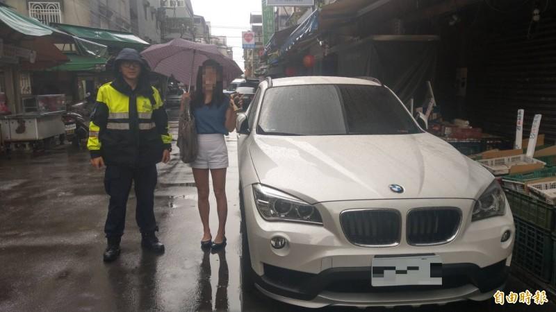 詹女粗心沒確認車停放地點,勞師動眾麻煩警方尋車。(記者姚岳宏攝)