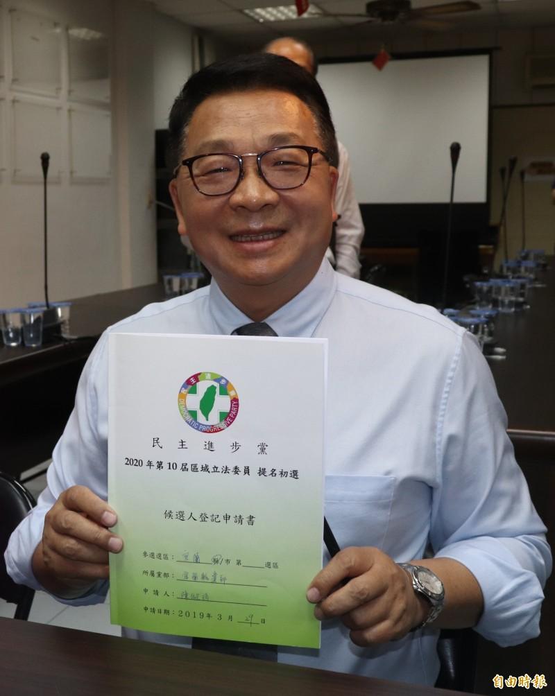 現任立委陳歐珀於綠營初選民調順利勝出。(記者林敬倫攝)