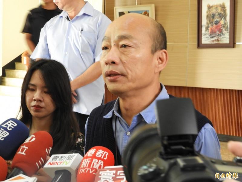 高雄市長韓國瑜強調,如果吳敦義有拿4千萬給他,他可以辭掉高雄市長。(記者葛祐豪攝)