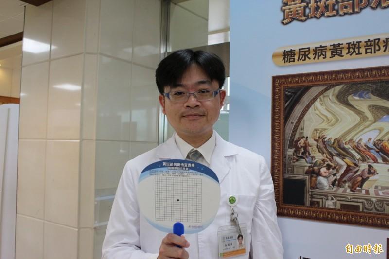 彰基眼科主治醫師吳建昇建議民眾居家練習黃斑部病變自我檢查方法。(記者張聰秋攝)