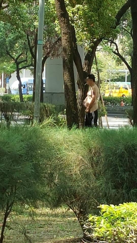 台中當舖日友當舖臉書專頁分享曾姓「好野人」脫掉上衣,在公園內露鳥。(黃先生提供)