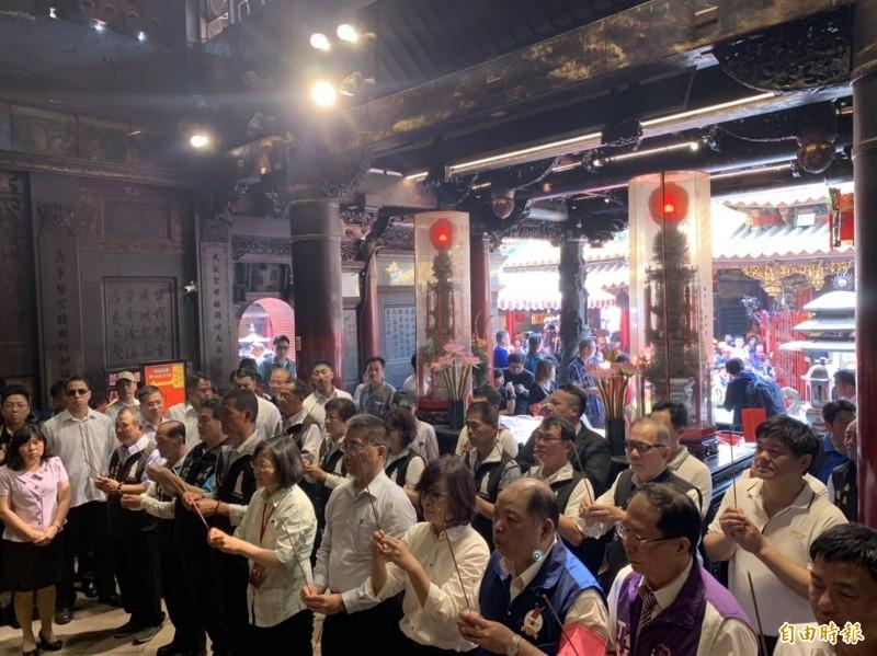 總統蔡英文上個月在北港朝天宮參加白沙屯媽祖進香活動。(資料照,記者廖淑玲攝)