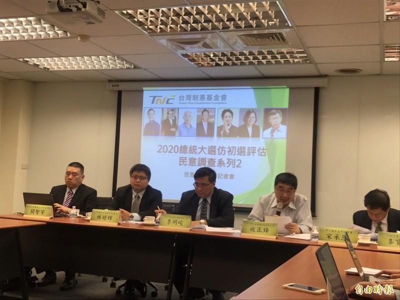 由獨派大老辜寬敏成立的台灣制憲基金會今天發布民調,不過辜寬敏因感冒未癒而未出席。(記者蘇芳禾攝)