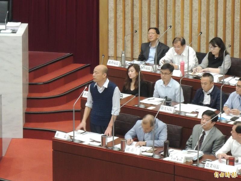 高雄市長韓國瑜認為宋楚瑜已對中國官媒報導做出詳細回應,他不便代答。(記者王榮祥攝)