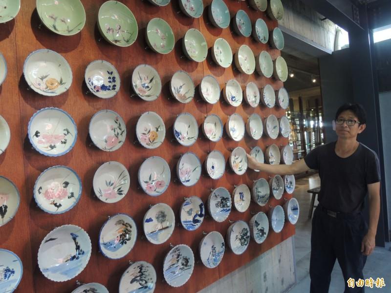 台灣碗盤博物館展示各式傳統陶瓷碗盤。(記者江志雄攝)