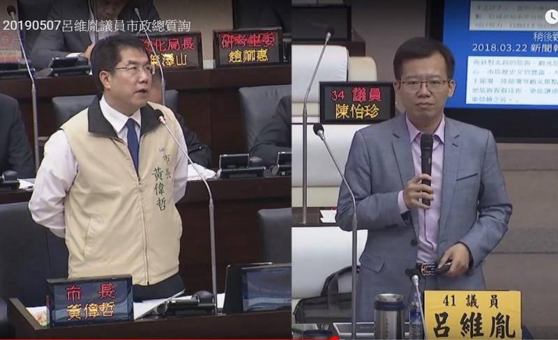 議員呂維胤(右)建議改善台南機場交通不便等缺點,增加國際線定期航班及更多廉航進駐。(記者蔡文居翻攝)