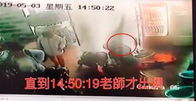 男童母親將監視器畫面PO網,質疑帶隊老師嚴重疏失還說謊。(記者鄭名翔翻攝)