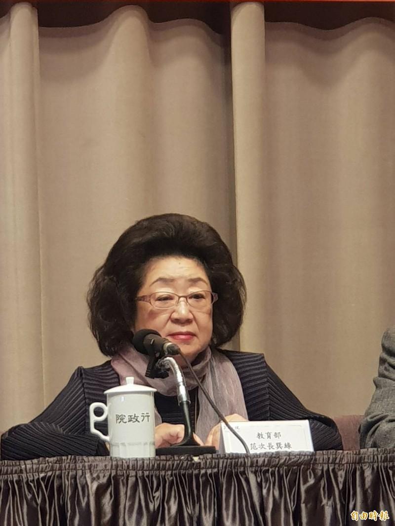 因應中國文教統戰對策,教育部次長范巽綠表示,教育部除了定期與陸委會會商外,也將找學校討論。(記者李欣芳攝)