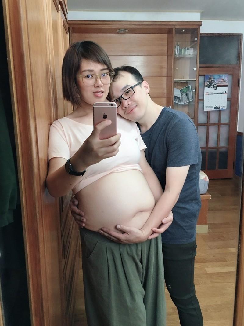 蘇先生與洪小姐因減重認識而共結連理,,洪小姐減重後順利懷孕,將歡喜過第一個母親節。(義大大昌醫院提供)