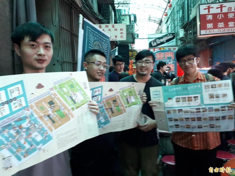 新竹市政府邀請插畫家編製東門市場的散步導覽美食地圖,東門市場內的年輕店家也來推薦,邀大家巡圖找美食,還可兌換精製玻璃杯。(記者洪美秀攝)
