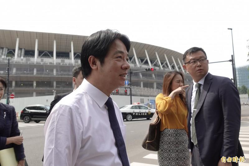 賴清德參觀東京奧運主場館新國立競技場。(記者林翠儀攝)