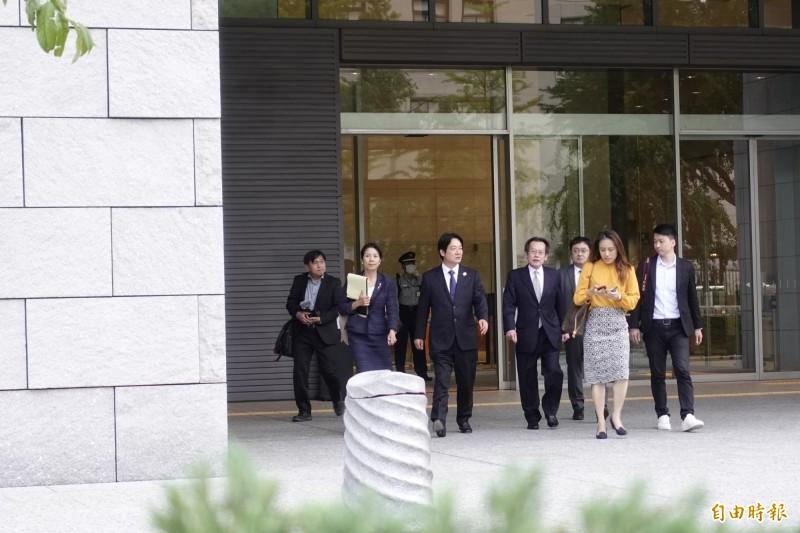 前行政院長賴清德10日傍晚結束與前首相野田佳彥會面後走出眾議員會館。(記者林翠儀攝)