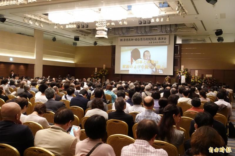 前行政院長賴清德在東京的演講會,吸引爆滿台僑到場。(記者林翠儀攝)