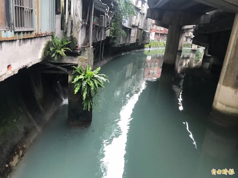基隆市旭川河民生廢水直接排入河中,造成臭氣難聞,基隆市府今年提出「河港整治」的策略做河川治理。(記者俞肇福攝)