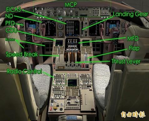 長美公司購買的波音七四七飛機,重要零件不翼而飛,圖為正常儀錶板情形。(長美公司提供)