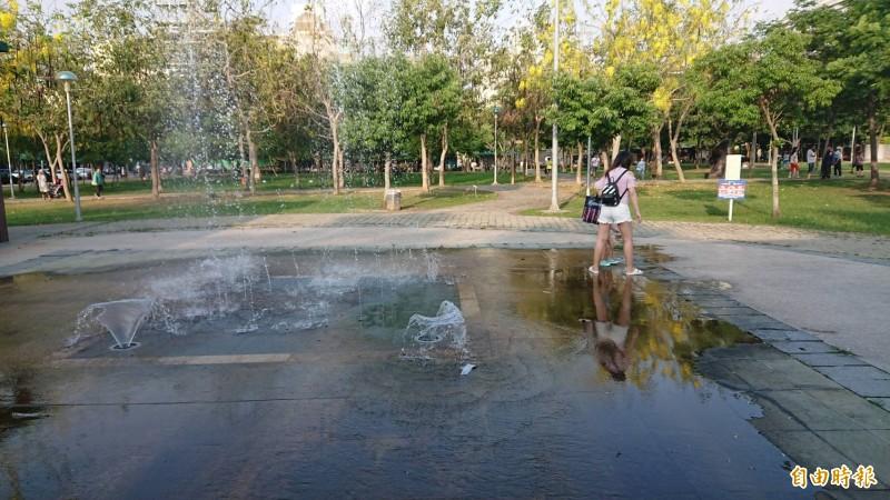 嘉市文化公園小型噴水池傳出一位國小女童戲水時,因地面濕滑有青苔,致滑倒摔斷2顆門牙的意外。(記者丁偉杰攝)