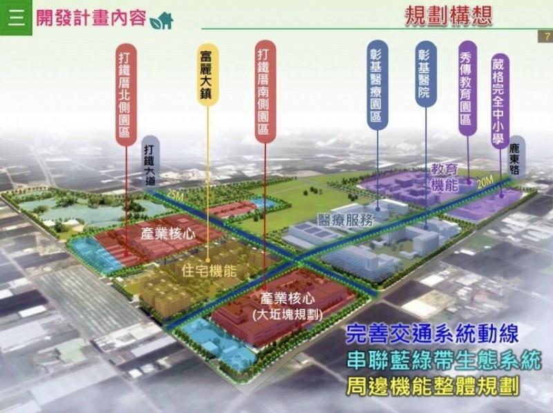 前瞻基礎建設計畫之一的彰化縣鹿港鎮「打鐵厝產業園區」開發案。(記者張聰秋翻攝)
