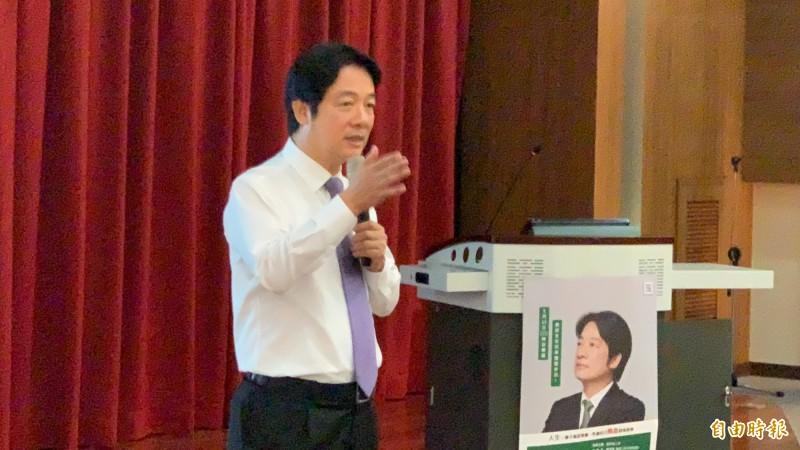 賴清德應邀演講時,回應蔡總統,盼她專心國政,我全心投入選舉為台灣的未來打這場選戰,合力挽狂瀾,創造雙贏的局面。(記者蔡淑媛攝)