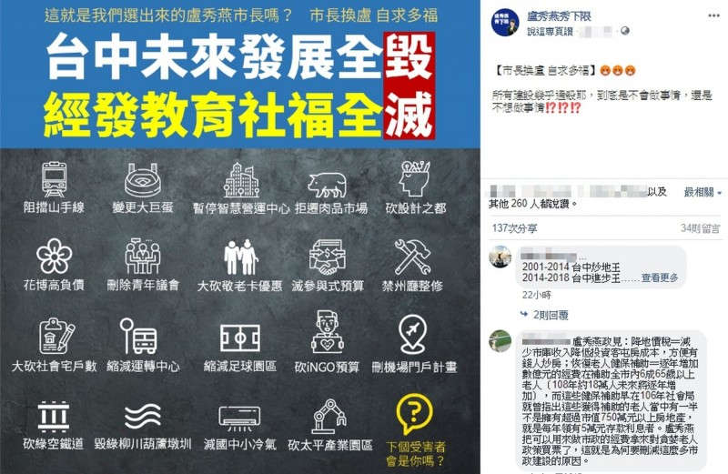 盧秀燕市府團隊停擺近20項建設,網友製作「毀滅台中未來建設」貼圖。(圖擷取自「盧秀燕秀下限」粉絲專頁)