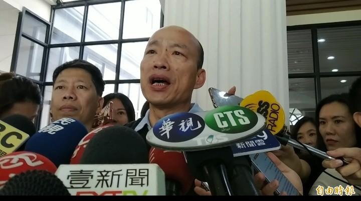 韓國瑜自嘲,他每天講高雄發大財,好像看起來傻呼呼的。(記者洪定宏攝)