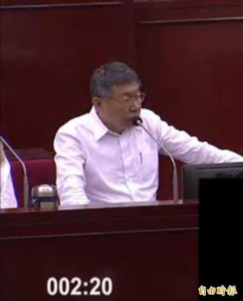 台北市長柯文哲今上午進行專案報告,被問到去年曾承諾東環段2021年可動工,現在為何不敢再承諾?(記者楊心慧攝)