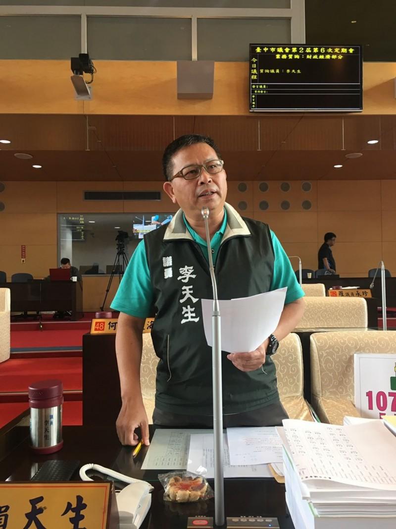 李天生表示,台中市議員問政理性,質詢內容引用具體數據,表現並不會輸給台北市。(圖由李天生提供)