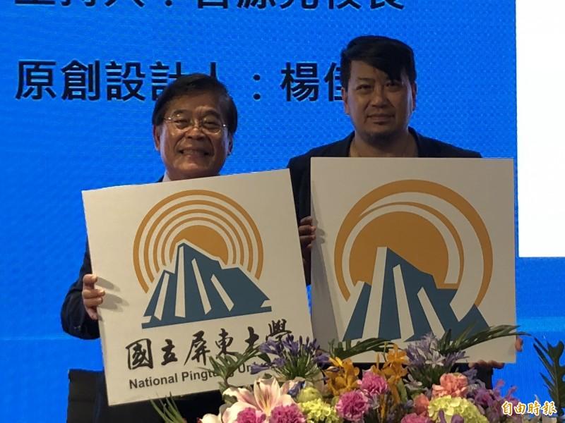 原圖(右)與校徽(左),在簽約之後,校徽取得正當性。(記者羅欣貞攝)