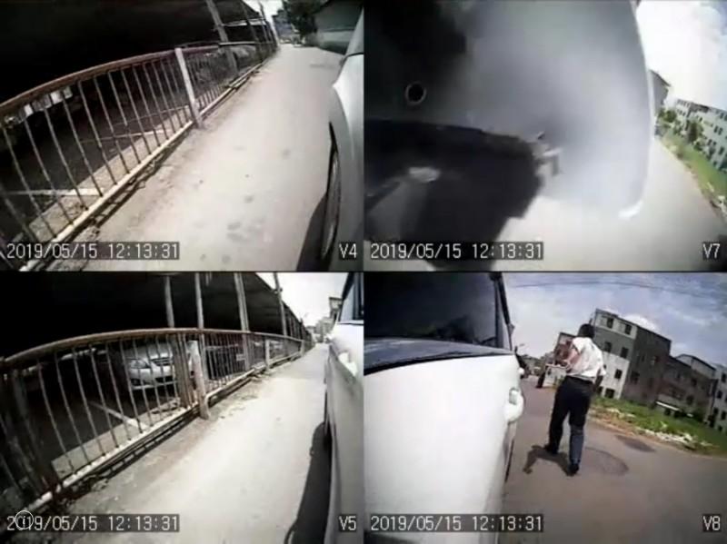 阿伯與車子擦身時,伸手拍打車身。(圖擷取自目擊者行車影像記錄器提供畫面)