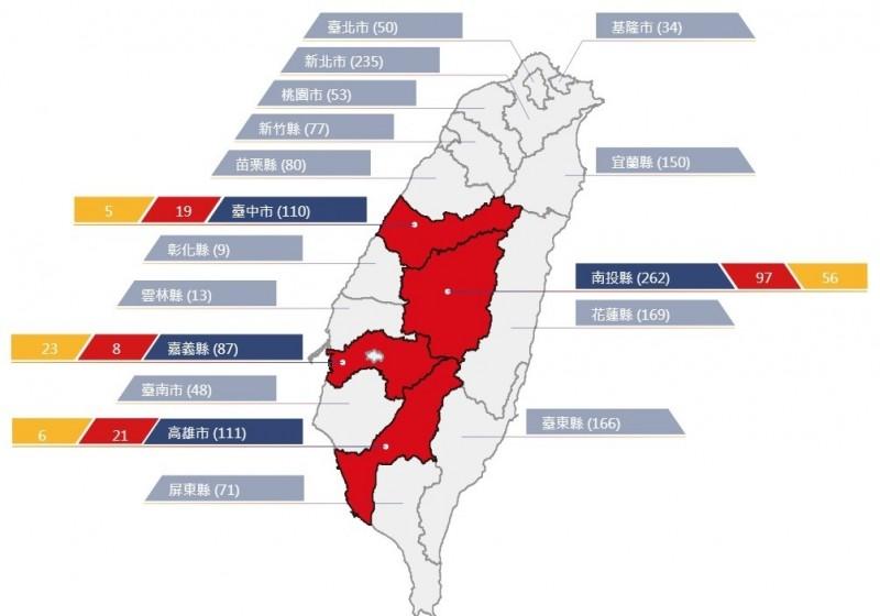 農委會晚間更新土石流警戒,四縣市成紅色警戒區。(記者吳亮儀翻攝)