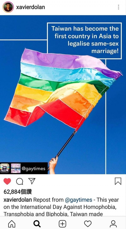 加拿大籍導演札維耶多藍(Xavier Dolan),他在IG帳號發文提及,台灣成為亞洲第一個立法通過同性婚姻的國家。(記者陳鈺馥翻攝)