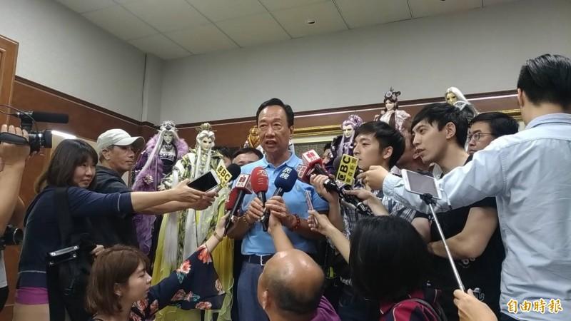鴻海董事長郭台銘批判總統蔡英文就職3週年演說,是用空洞數字遮掩恐懼敗選。(記者廖淑玲攝)