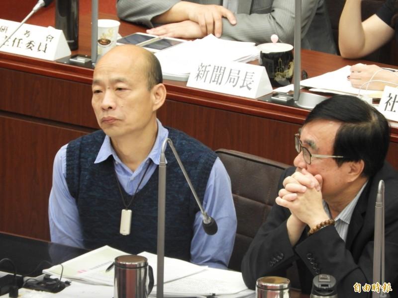 韓國瑜今天繼續到議會備詢。(記者葛祐豪攝)