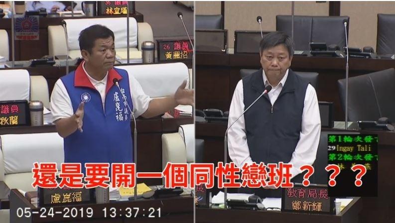台南市議員盧崑福昨(24)日對台南市教育局長鄭新輝質詢性別教育議題時,提到家長反映憂心老師如果是同志怎麼辦?「還是要開一個同性戀班?」(擷自臉書)