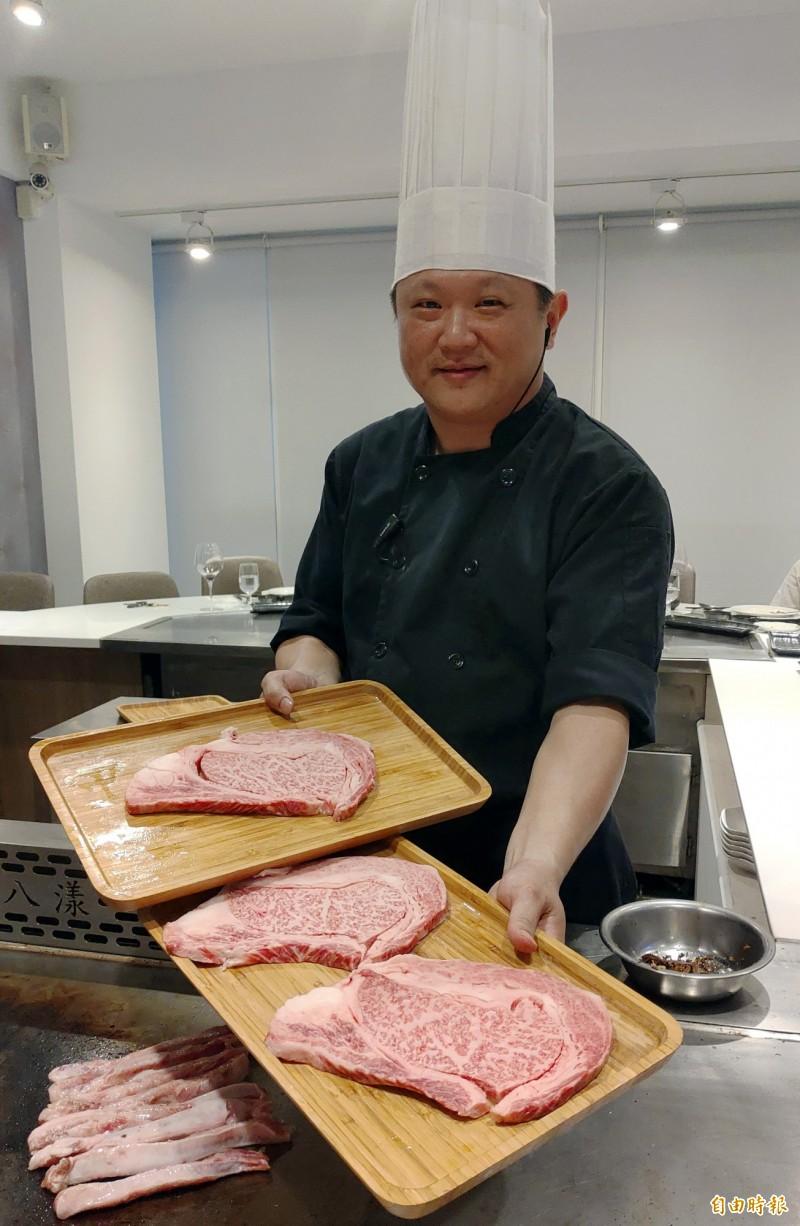天廚鐵板燒主廚徐步天資歷豐富。(記者張菁雅攝)